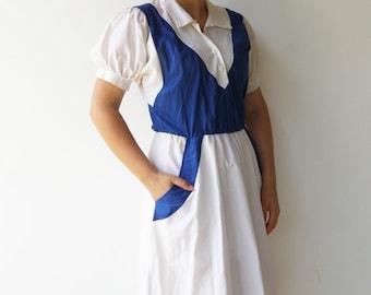 Vintage Blue and White Dress / 1970s Dress / Size M L