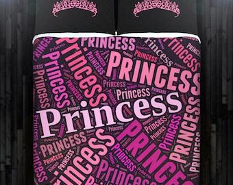 Pink Princess Tiara Girl Bedding Duvet Cover Queen Comforter King Twin XL Size Blanket Sheet Set Baby Crib Toddler Daybed Kids Bed