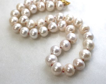 Very Fine, Very Large Freshwater Ivory Pearl Necklace in Gold Fill...