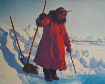 "Fred Machetanz ""Winter Harvest"" Limited Edition Alaskan Künstler Lithographie / Eskimo Angeln / Alaska"