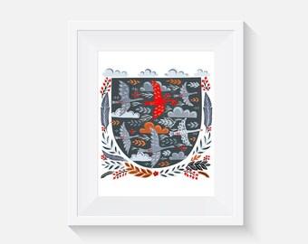 EtchArt Hidden Forest Archival Giclee Art Print 8 (Geese)