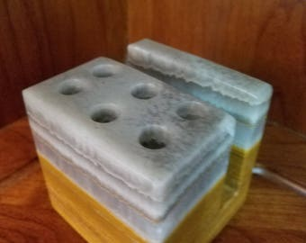 Mexican Marble Desk Caddy And Paperweight