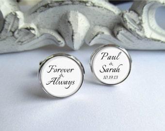 Cufflinks, Forever & Always, Customized Groom Cufflinks, Wedding Keepsake For Groom