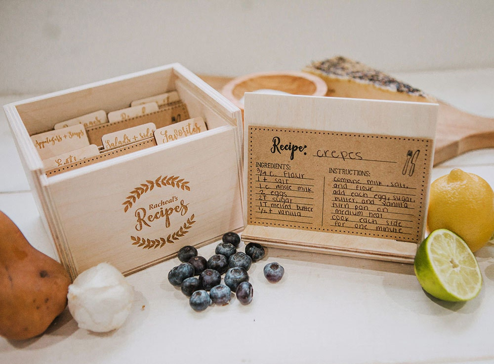 Wood recipe box for 3x5 recipe cards includes 7 laser zoom thecheapjerseys Image collections