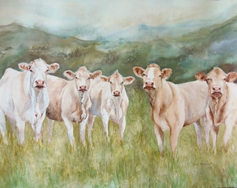 Cows in a Field - Original Watercolor Painting (Unframed)