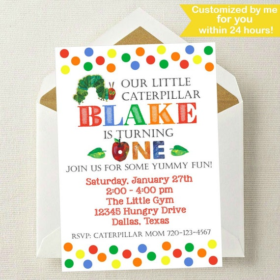 Very hungry caterpillar invitation very hungry caterpillar like this item bookmarktalkfo Image collections