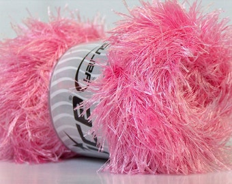 Large 100 Gram Skein Pink Long Eyelash Yarn Ice Fun Fur 22720