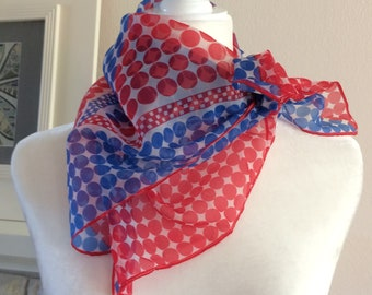 "Vintage Polka Dot Scarf Red White Blue July 4th Summer 60s 70s 26"" Square Chiffon Semi Sheer Checks Retro Rockabilly"