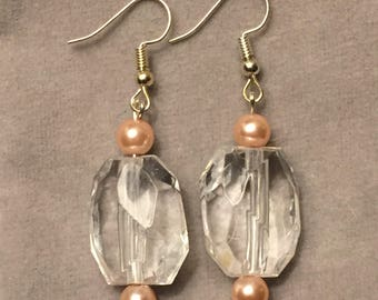 Large clear bead and pink pearl dangle earrings