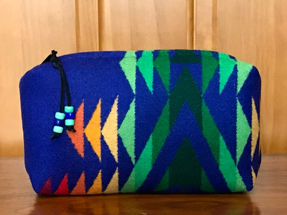 Cosmetic Bag / Makeup Bag / Zippered Pouch Large Sapphire & Green Overall