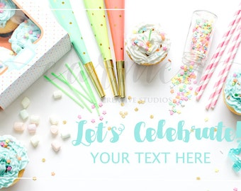 2 Party Styled Stock Photography / Birthday Stock Photography / Festive Stock Photo / Digital Download