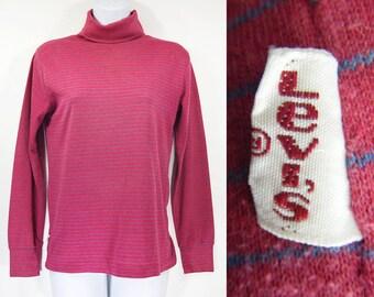 10 Dollar Sale---Vintage 80's LEVI'S Dark Pink & Blue Striped Turtle Neck Sweater S or M