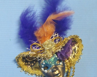 Venetian Carnival Mask Lapel Brooch Charm Hand Crafted