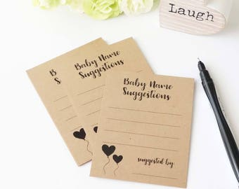 Baby Name Suggestions Kraft Cards - Baby Shower Games - Baby Name Cards - Baby Boy Girl - Fun Party Activity