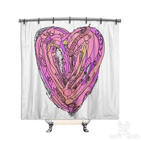 Amore - Heart Shower Curtain - Art by Ingrid Padilla