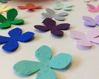 Plantable seed paper flowers - 100 plantable seed paper flowers - choose your color plantable flower