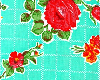 Oilcloth By The Yard Aqua Rose N Grid Oilcloth