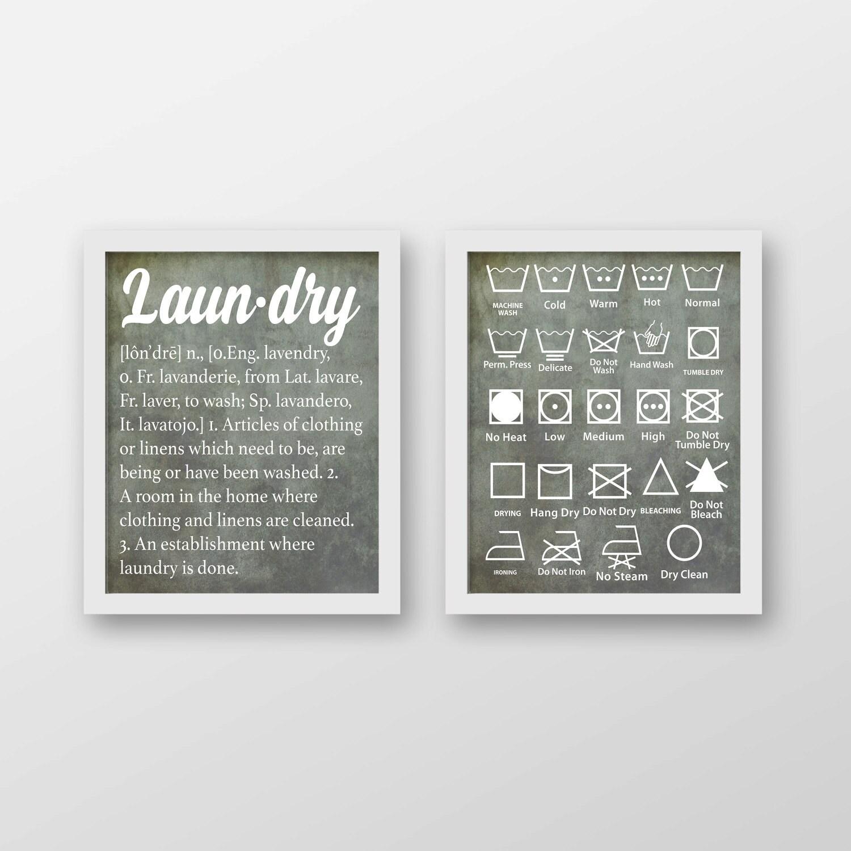 Laundry Symbols Art Vintage Laundry Definition And Symbols Art Print Set Of 2