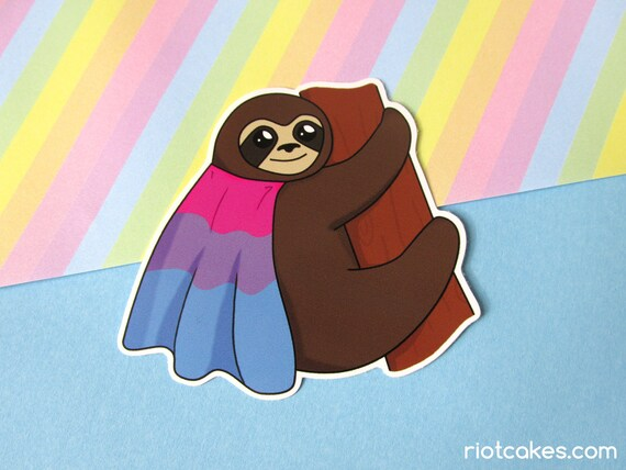 Bisexual pride sloth sticker