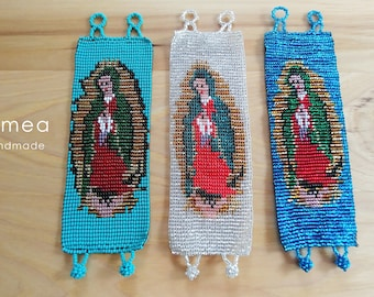 Virgen de Guadalupe  - Beaded Chaquira Bracelets - Mexican Style - Huichol Art - Romea Accessories -