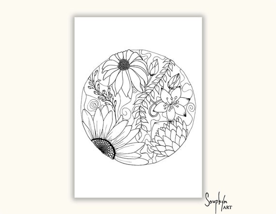 Adult Coloring Pages - TWO Printable Colouring Pages, Color in, PDF ...