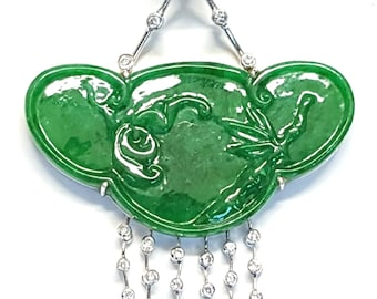 18k Ruyi Jade Diamond Pendant Vivid Green CERTIFIED GRADE A Jadeite Jade White Gold Mason Kay Certficate Included
