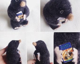 Sweet Mole Reading Harry Potter Ooak Soft Sculpture Gift