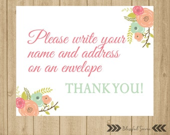 Please write your name and address on envelope sign wedding please write your name and address on envelope sign baby shower sign bridal shower bookmarktalkfo Image collections