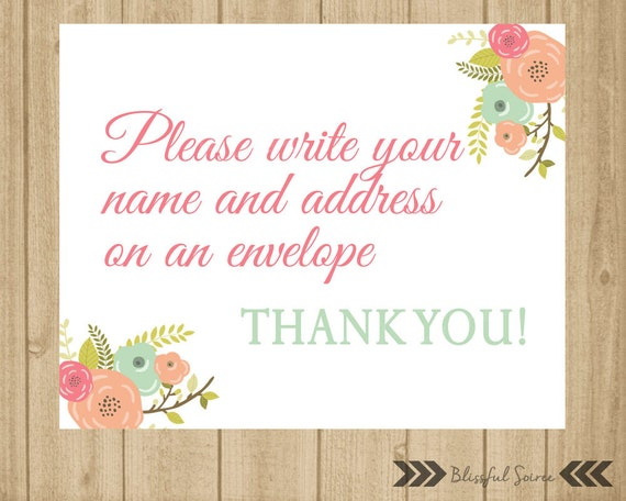 Please Write Your Name And Address On Envelope Sign Baby