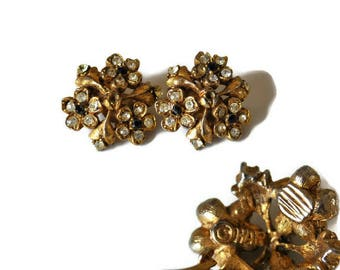 1950's Har Signed Earrings // Vintage Gold Tone Floral Earrings C.1955 // Collectable Clip On Earrings // Costume Jewellery