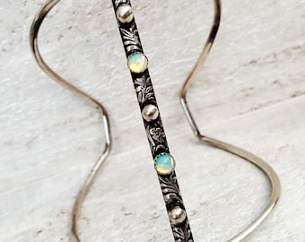 Opal and Sterling Silver Art Nouveau Cage Cuff