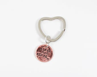 Super Mom Keychain, Mother Keychain, Mom Gifts, Mom Since, Personalized Keychain for Mom, Penny Keychain, Gift for Mom, Best Mom, For Her