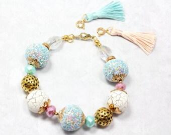 Gender Reveal Bracelet, Pink and Blue Bracelet, New Mom Bracelet, Tassel Bracelet, Artisan Beads, New Mom Gift, Grandmother Gift
