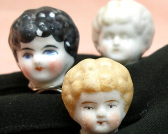 1800s Frozen Charlotte DOLL ring, Antique Victorian head on sterling silver, Blond doll only.  one of a kind.
