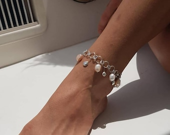 Foot bracelet with natural pearls, foot chain, body chain, silver foot bracelet, браслет на ногу с жемчугом