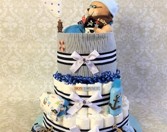 Baby Boy 3 tier Nautical Diaper cake - an adorable diaper baby shower gift - made to order