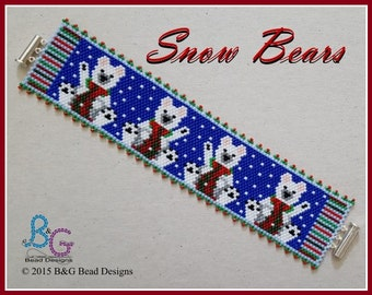 SNOW BEARS Peyote Cuff Bracelet Pattern