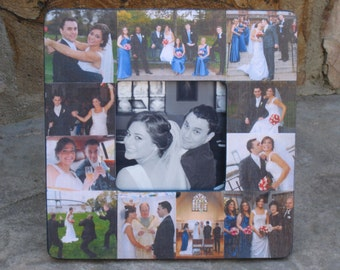 """Personalized Wedding Picture Frame, Custom Collage Picture Frame, Unique Wedding Gift, Unique Engagement Gift 8"""" x 8"""", Valentine's Day Gift"""