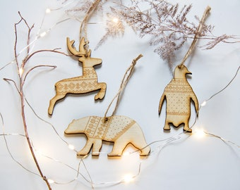 Christmas Tree Decorations, Wooden Christmas Decorations, Scandi Christmas Tree Decorations, Polar Bear, Reindeer, Penguin in a Jumper