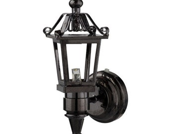 1:12 Scale Houseworks Miniature LED Black Nickel Coach Lamp