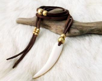 Tusk Necklace Suede Necklace Claw Necklace Boho Necklace - BROWN - Boho Jewelry Gypsy Jewelry Bohemian Jewelry Bone Necklace Tooth Necklace