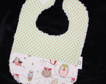Fun White Owls and Seeds Chenille Bib - SALE