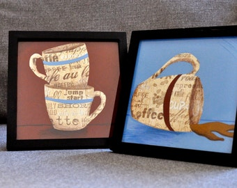 Framed Original Cut Paper Artwork - Coffee Cups