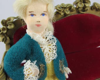 Vintage German Szalasi Spielwaren Boy Doll Rococo Baroque Elegant Antique Inspired Dollhouse Miniature Made in Germany