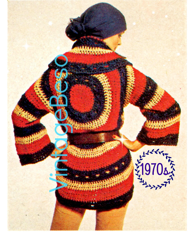 Instant Download • Crochet PATTERN BOHO Circle Wrap Cardigan • 70s ...
