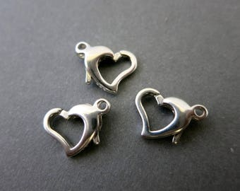1 STERLING SILVER Heart Clasp 10mm, Ready to Ship!