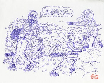 UNBORED Games LARP Zombie Attack Original Kids Book Illustration by Mister Reusch