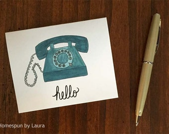 Vintage Rotary Phone Hello Blank Notecards - Set of 6