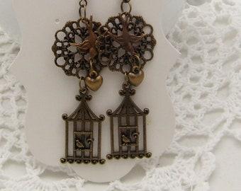 Antique Bronze Birdcage Earrings