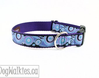 "Dreamy Swirls and Waves Dog Collar / 1"" (25mm) wide / Choice of color, style and size / Martingale Dog Collars or Quick Release"